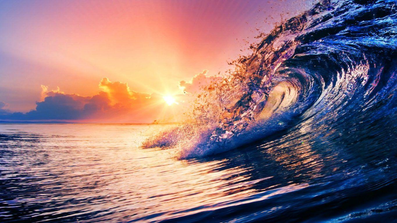 Sun Sunset Violet Dawn Pink Waves Sea Ocean Purple Clouds
