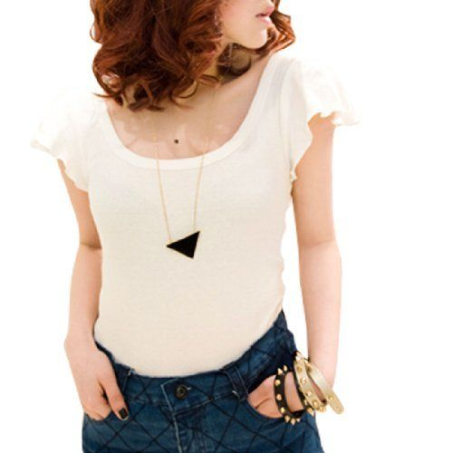 Allegra K Ladies Form-fitting Stretchy Short Sleeve Top Shirt White S Allegra K. $8.27