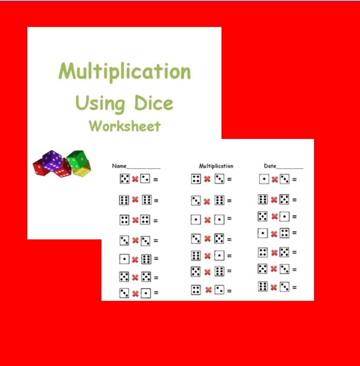 Multiplication With Dice With Images