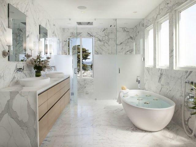 Marble Bath Bathroom Tub Carrara Marble White Gray Modern Decor