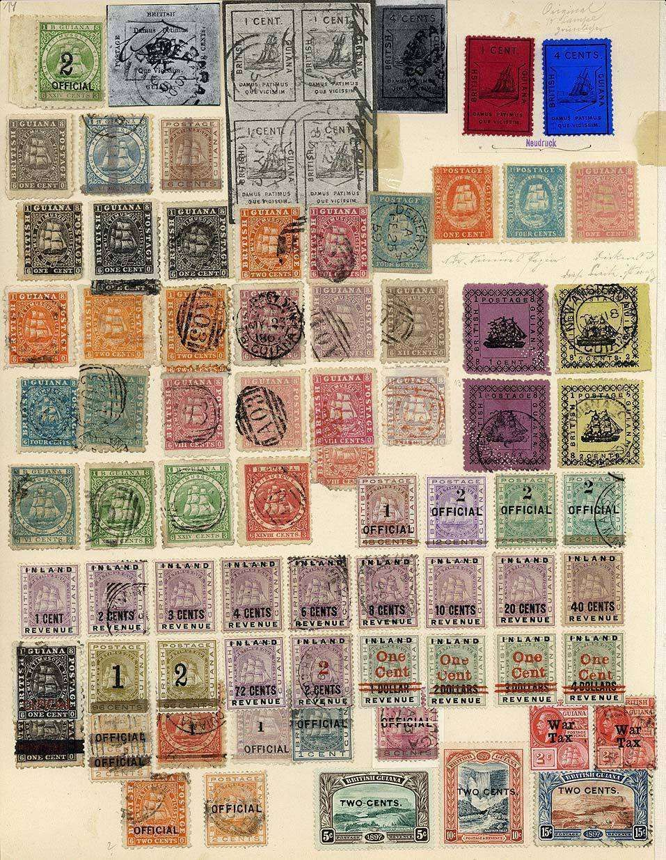 """BRITISH Guiana: approximate 1853 - 1930, interesting part of a collection from the ship issues, """"SANDBACH""""- Emissionen in different types, A..."""