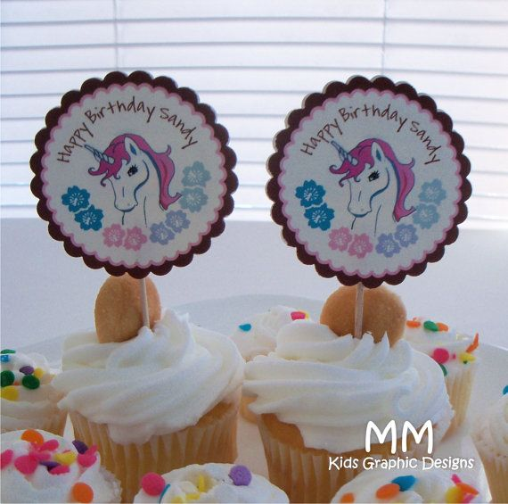 12 Unicorn Theme Cupcake Toppers Personalized Birthday Baby
