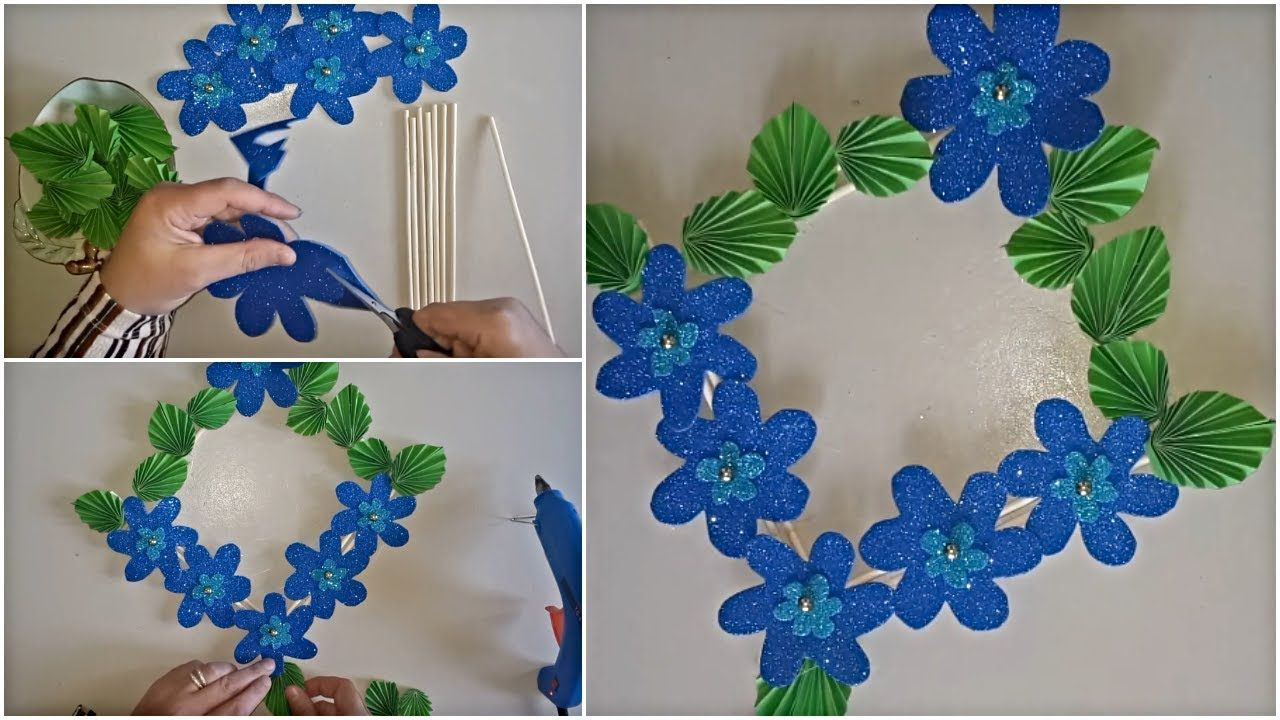 Diy Wall Hanging Flowers With Glitter Foam Sheet Diy Paper Craft Paper Crafts Diy Diy Wall Hanging Flower Foam Sheets