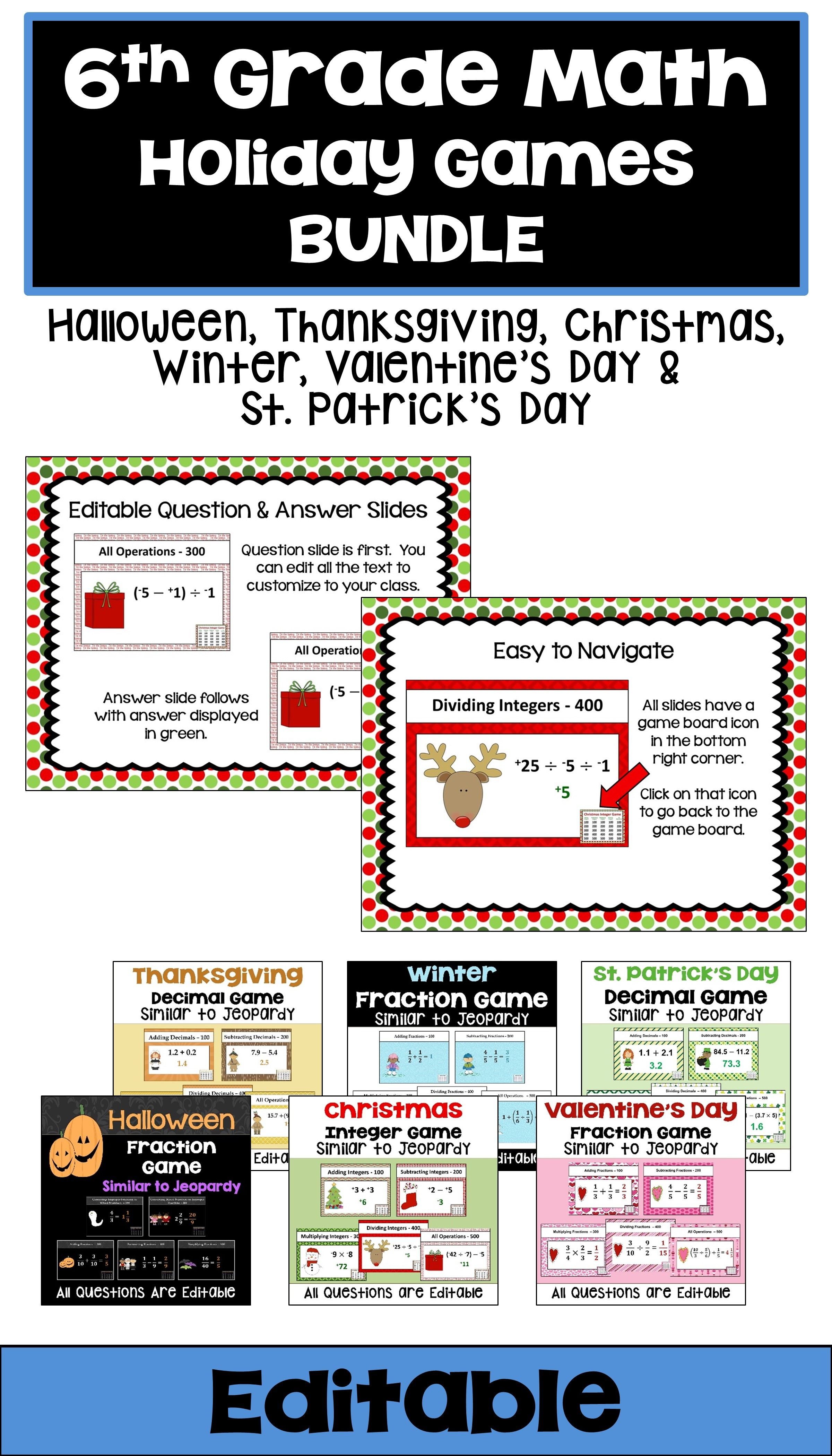 This 6th Grade Math Holiday Game Bundle Features Common