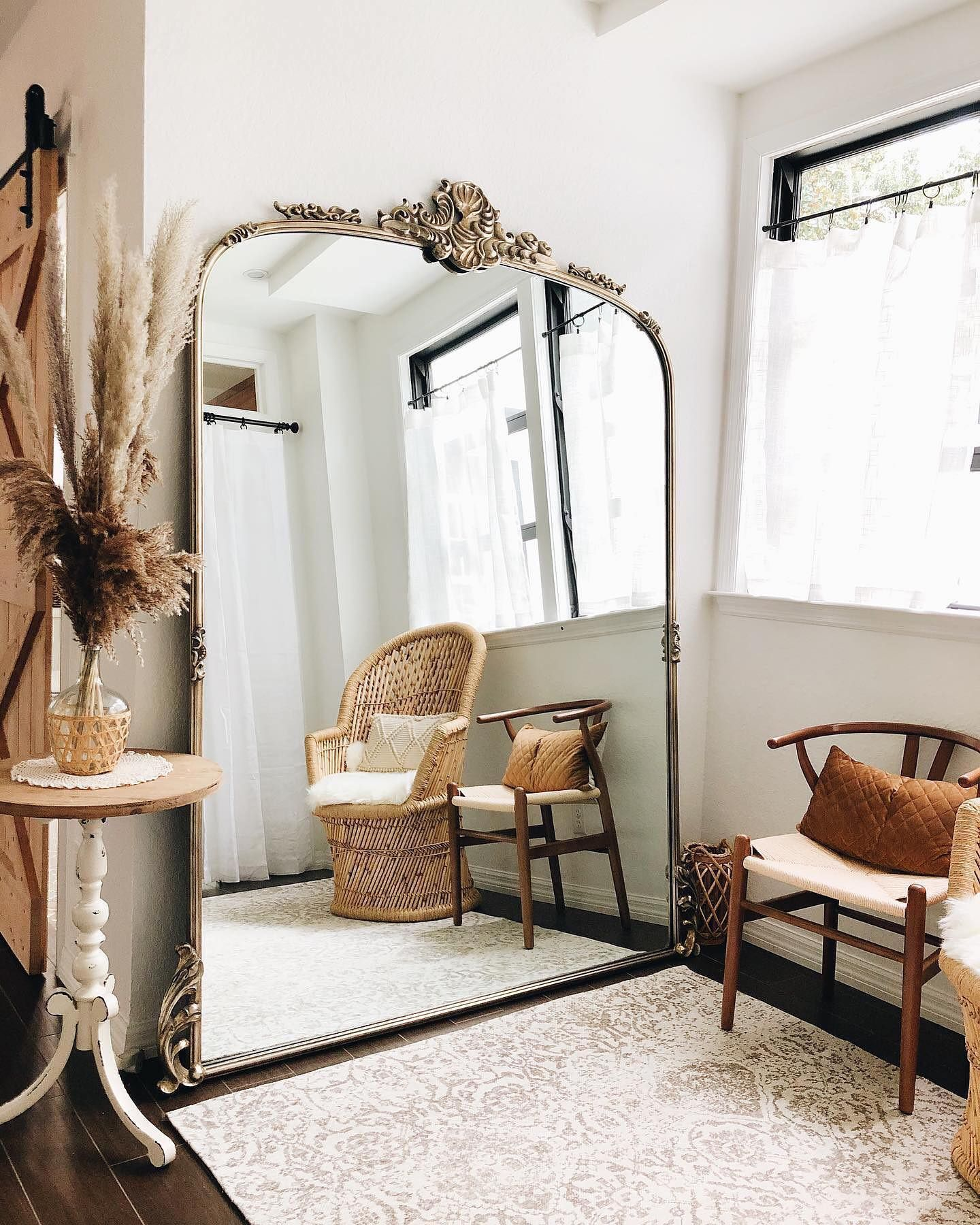 The Grand Amelie Mirror In Gold Styled By Flaglerbeachretreat Floor Mirror Living Room Arhaus Living Room Living Room Mirrors