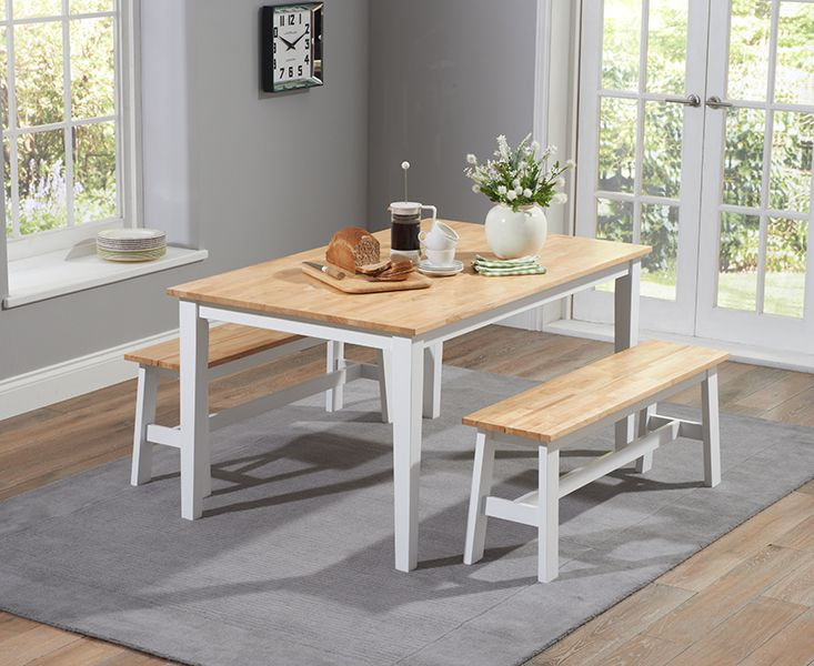 Buy The Chiltern 150Cm Oak And White Dining Table Set With Benches Pleasing White Dining Room Bench Review