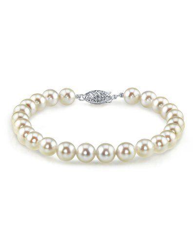 Sterling Silver Link 8.0mm Genuine Cultured Freshwater White Pearl Bracelet