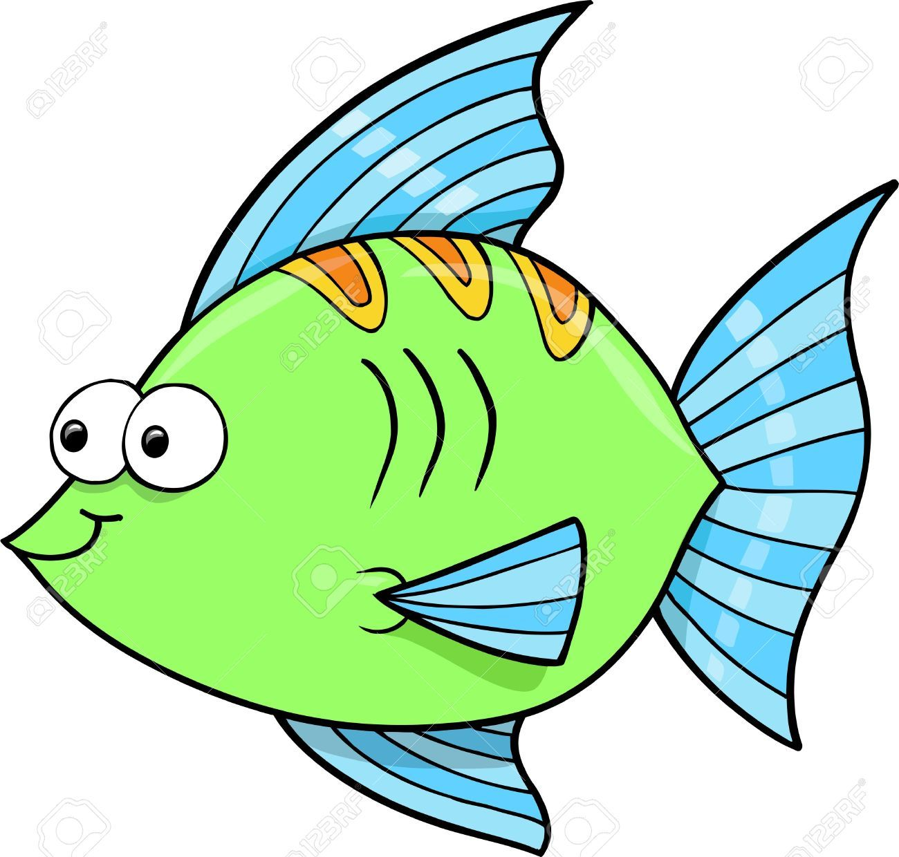 12413893 Cute Goofy Fish Ocean Vector Illustration Stock
