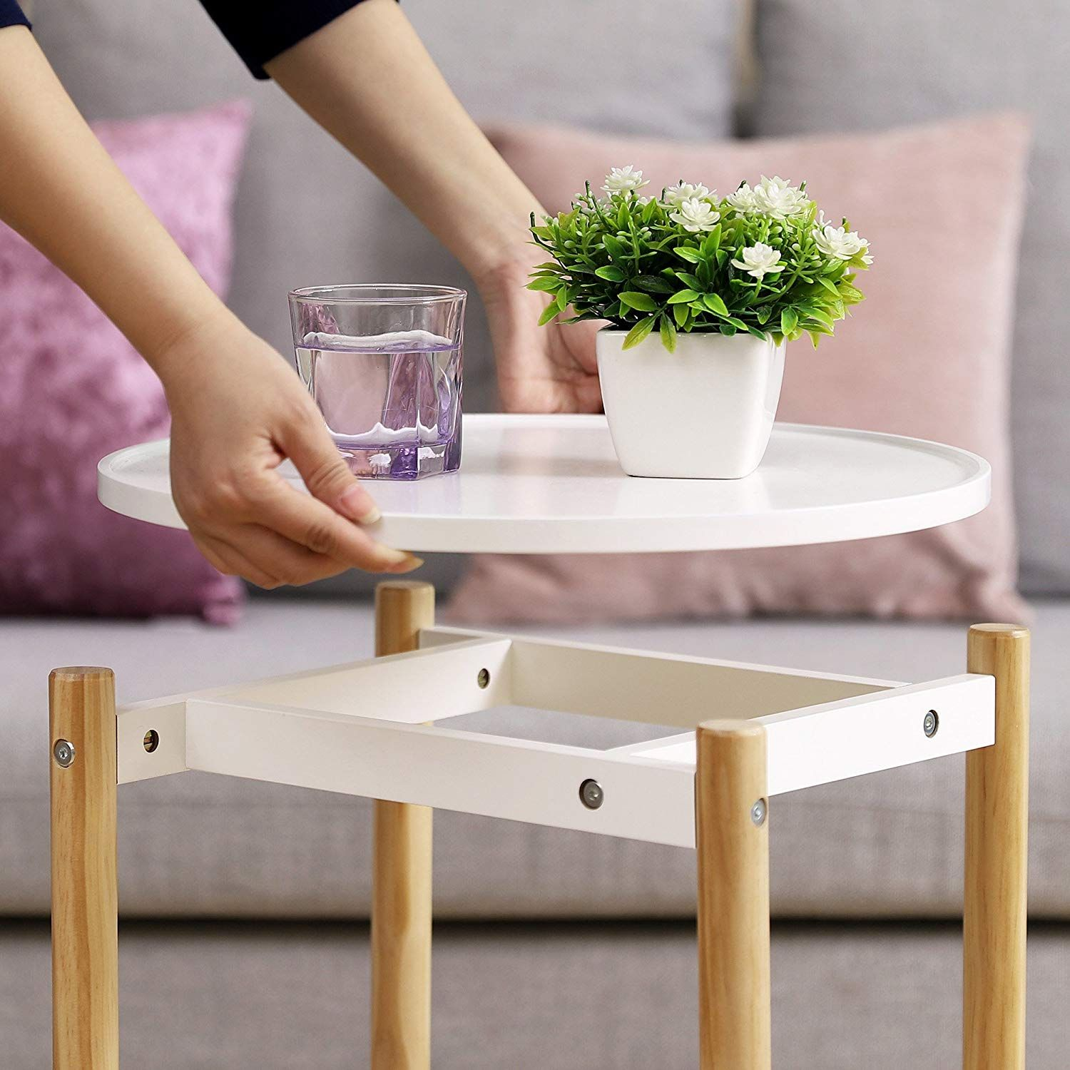 Double Your Space With This 2 Level Side Table You Ll Gain Twice As Much Space With Images Side Table Room Living Room