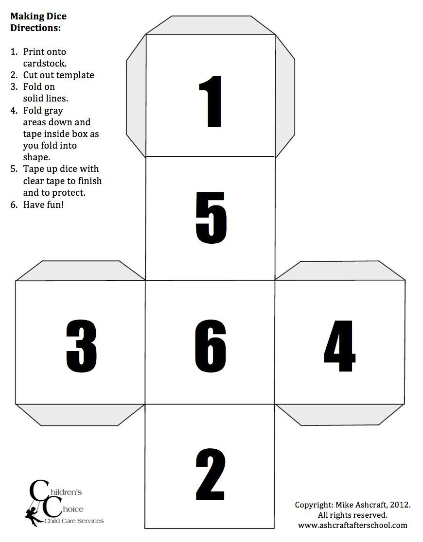 Printable numeral dice game just print on card stock fold and printable numeral dice game just print on card stock fold and tape ccuart Images