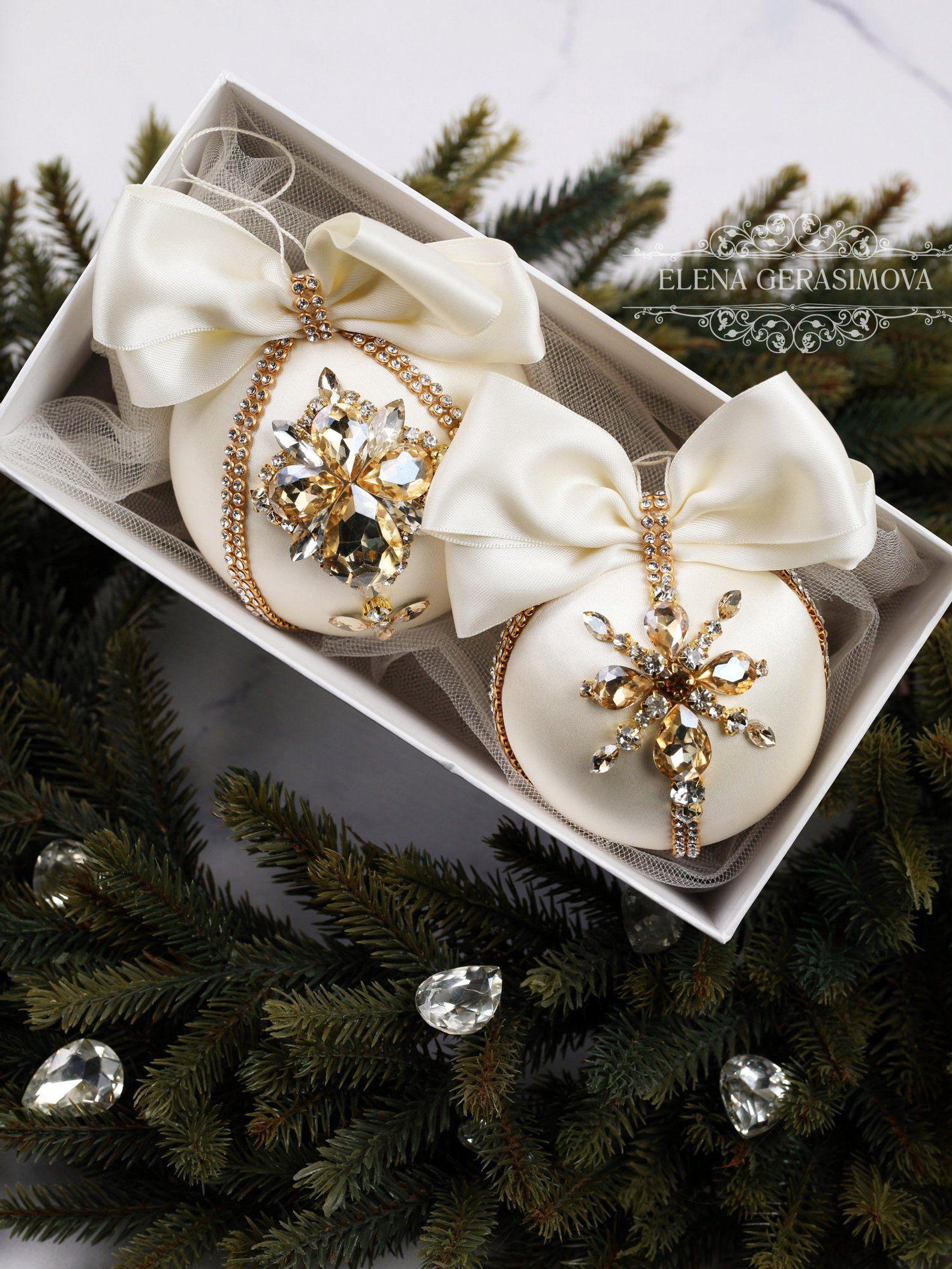 Christmas Rhinestones Ornaments Handmade Balls In Gift Box Xmas Decorations Tree Decor Set Ivory Gold Baubles Rhinestone Ornaments Xmas Decorations Handmade Ornaments