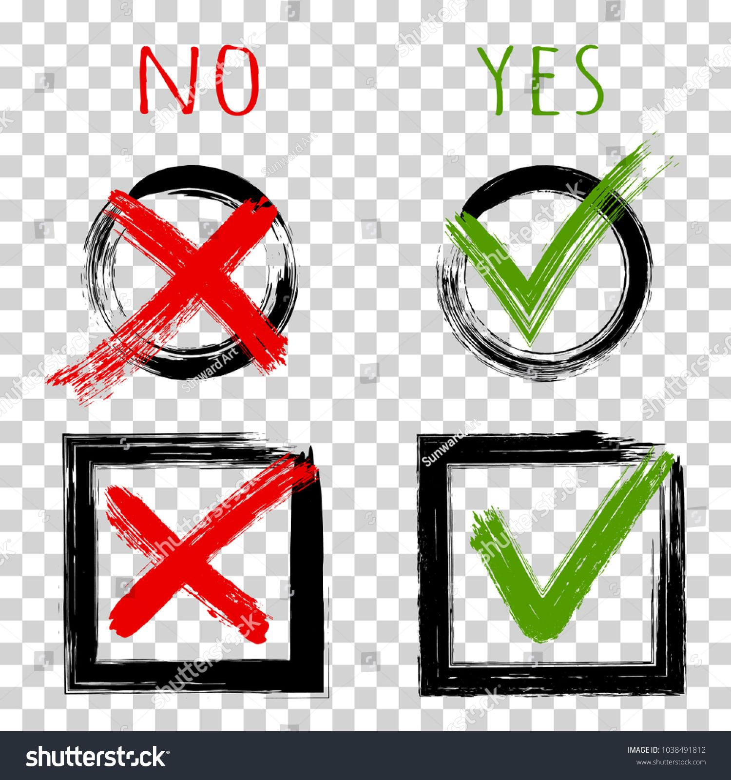 Tick and cross test signs check mark icons design YES or NO