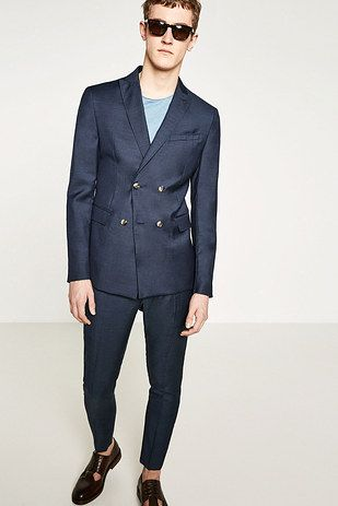9a4b5adb8ee Zara micro herringbone double-breasted suit, $298 | Here Are 9 Great Suits  Under $500