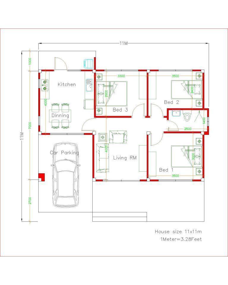 Simple House Design Plans 11x11 With 3 Bedrooms Full Plans House Plans S Projetos De Casas Terreas Casas Com 3 Quartos Bar Em Casa