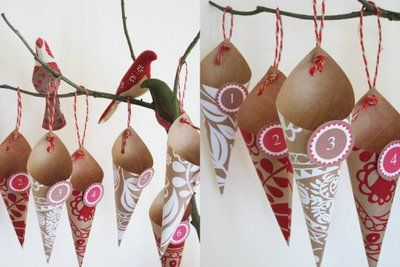 Advent calendar from paper cones, twigs & birds. #crafty #holidays #Christmas