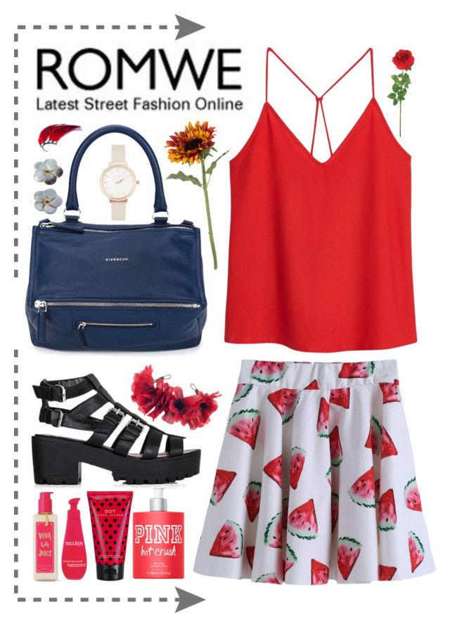 """""""ROMWE Watermelon Skirt"""" by luluhmrr on Polyvore"""