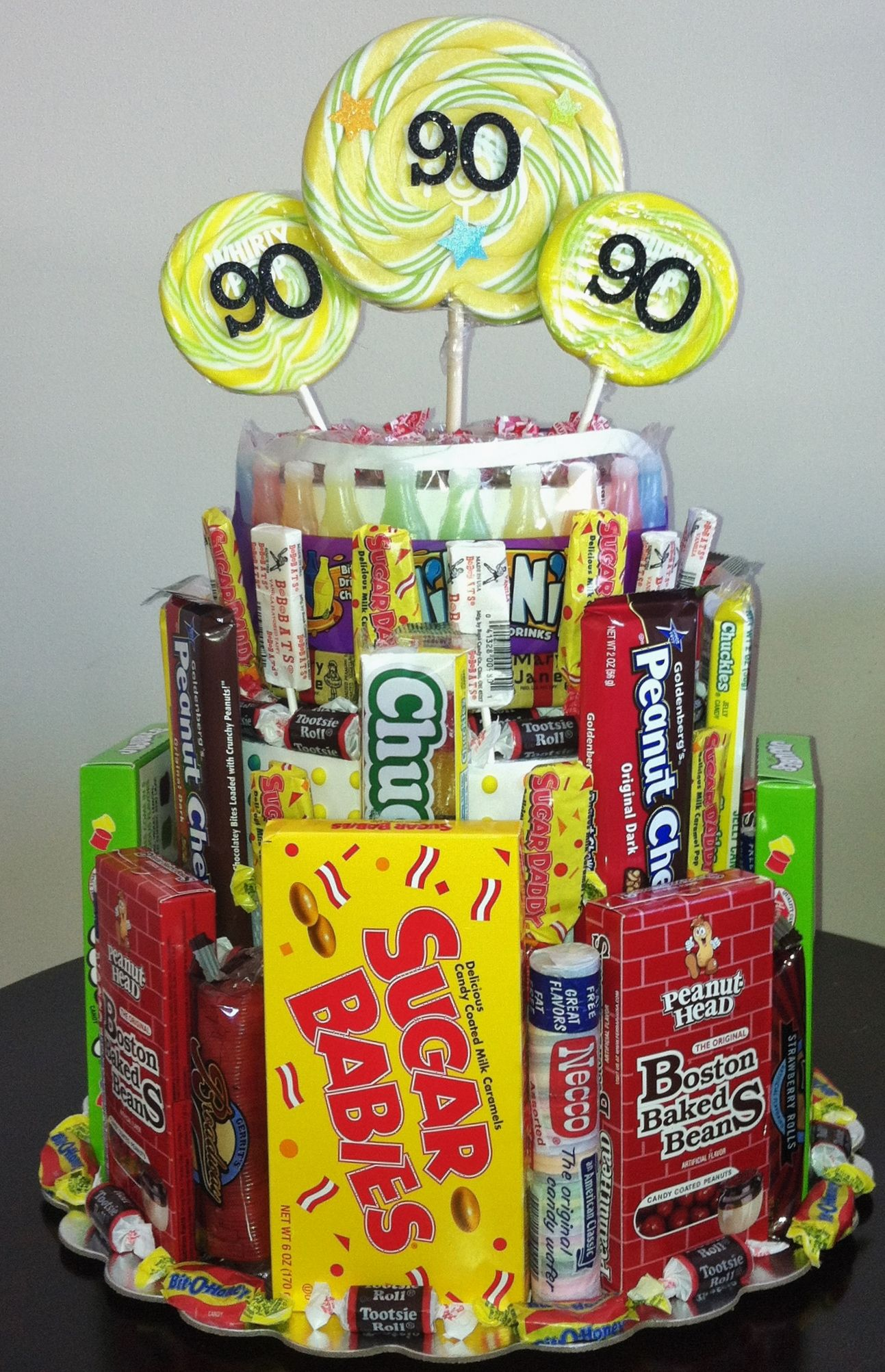 Th birthday centerpiece filled with candy from the