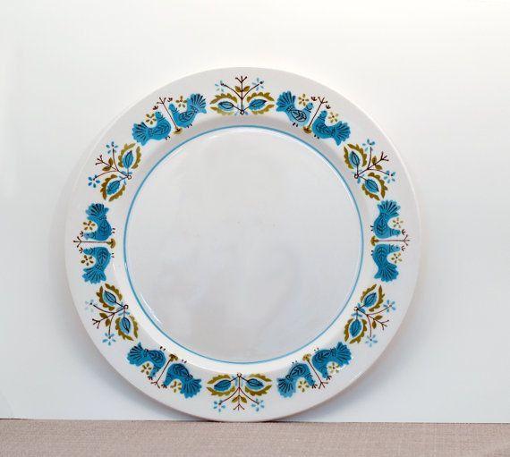 Vintage Mikasa Mediterrania Blue Bird Plates by 5of6sisters on Etsy