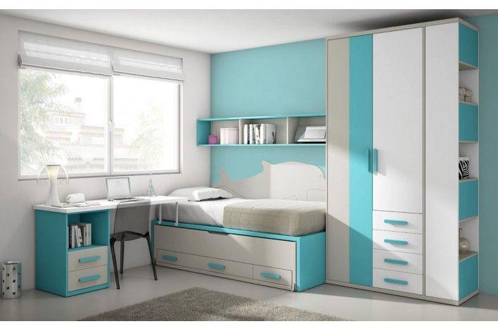 Te has fijado en el panel de la cama un modular juvenil muy original y con todo lo que - Dormitorios juveniles en merkamueble ...