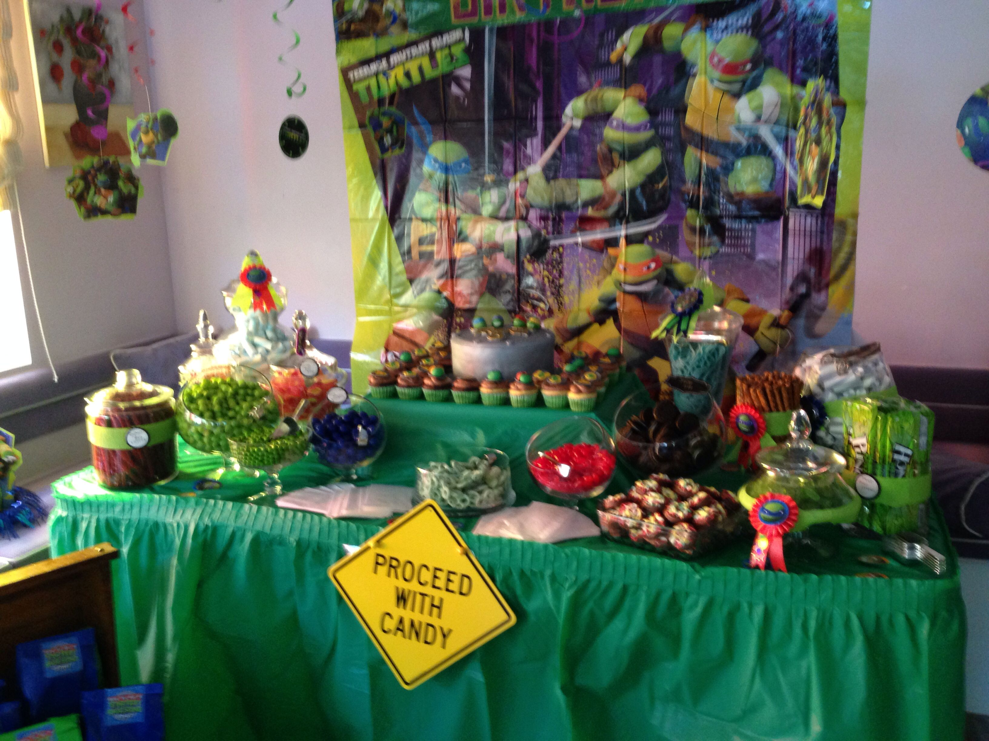 Tmnt Candy Table Tmnt Party Candy Table Decorations Turtles Candy
