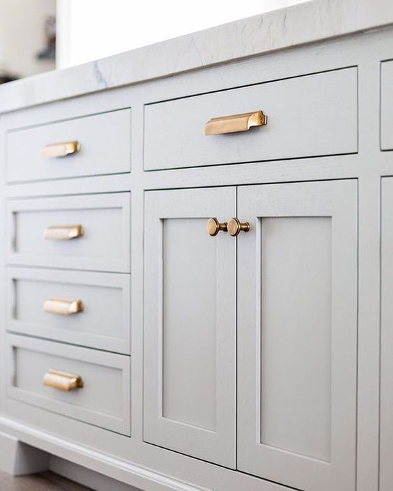 Grey Cabinets Copper Hardware House Decor Pinterest Gray - Gray kitchen cabinet hardware