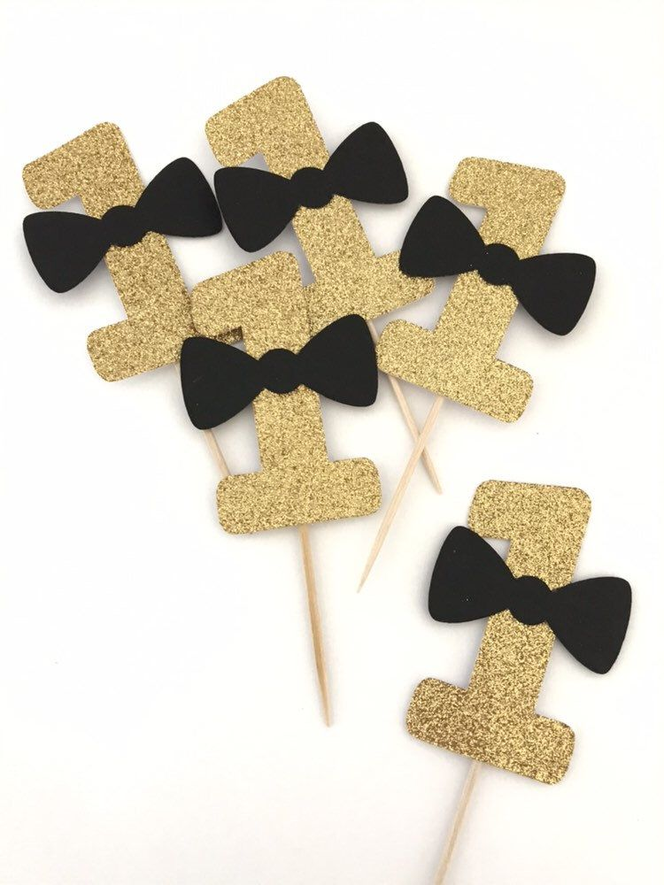 Mr onederful 1 bow tie cupcake topper first birthday in