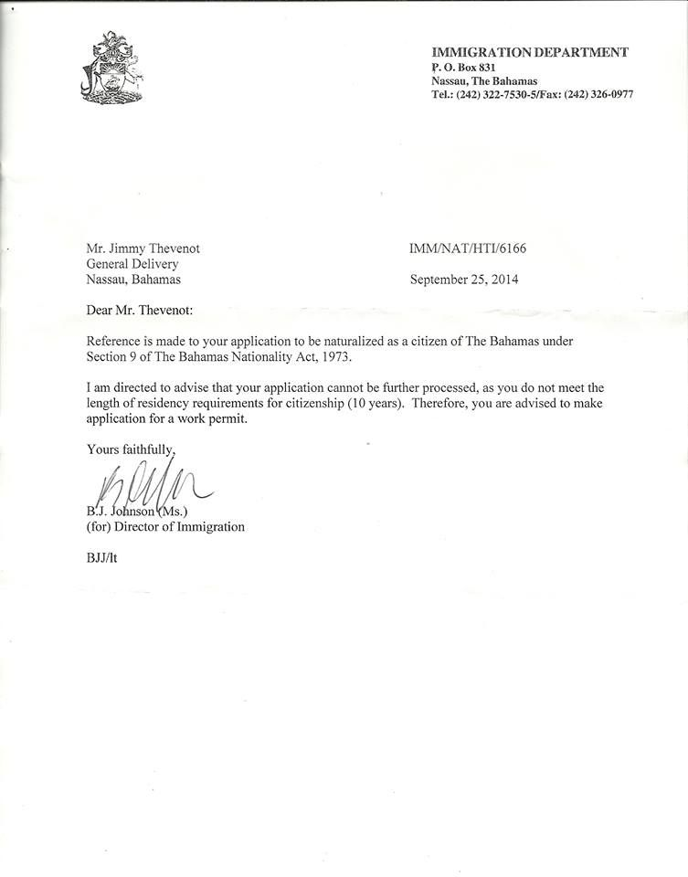 The attached photo is for a young man born in the bahamas he he received this letter from the bahamas immigration department on his application for citizenship surely the blatant human civil spiritdancerdesigns Images