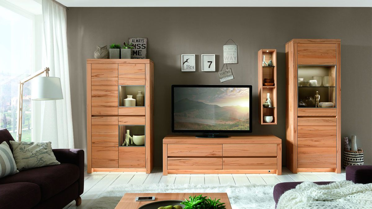 w stmann wohnkombination in kernbuche massiv soft geb rstet wood holz massiv wohnwand. Black Bedroom Furniture Sets. Home Design Ideas