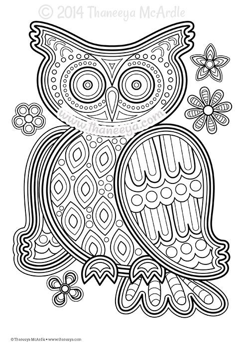 Owl Coloring Page by Thaneeya McArdle   Pinteres