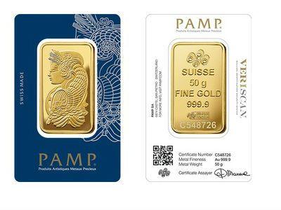 Box Of 25 X Pamp 50 Gram Minted Gold Bar Gold Bullion Bars Gold Bullion Coins Mint Gold