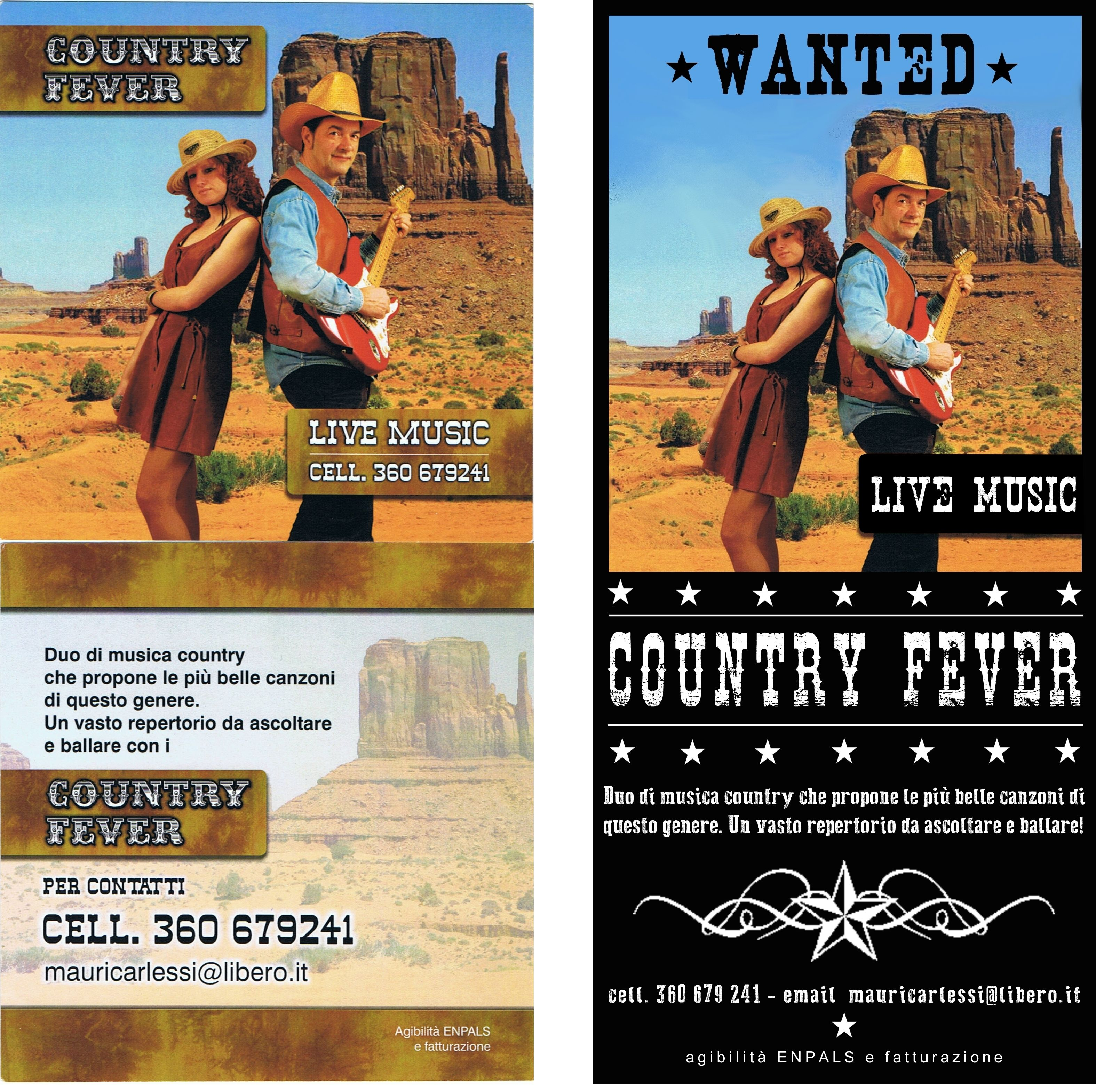 Graphic Redesign of a flyer for two country musicians (on the left the old one, on the right my project) - design archiLAURA