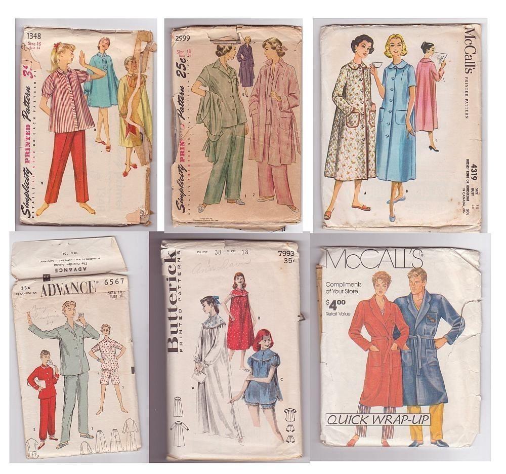 38b9e61a8e4c Patterns Vintage Simplicity McCalls Advance Butterick Pajamas ...
