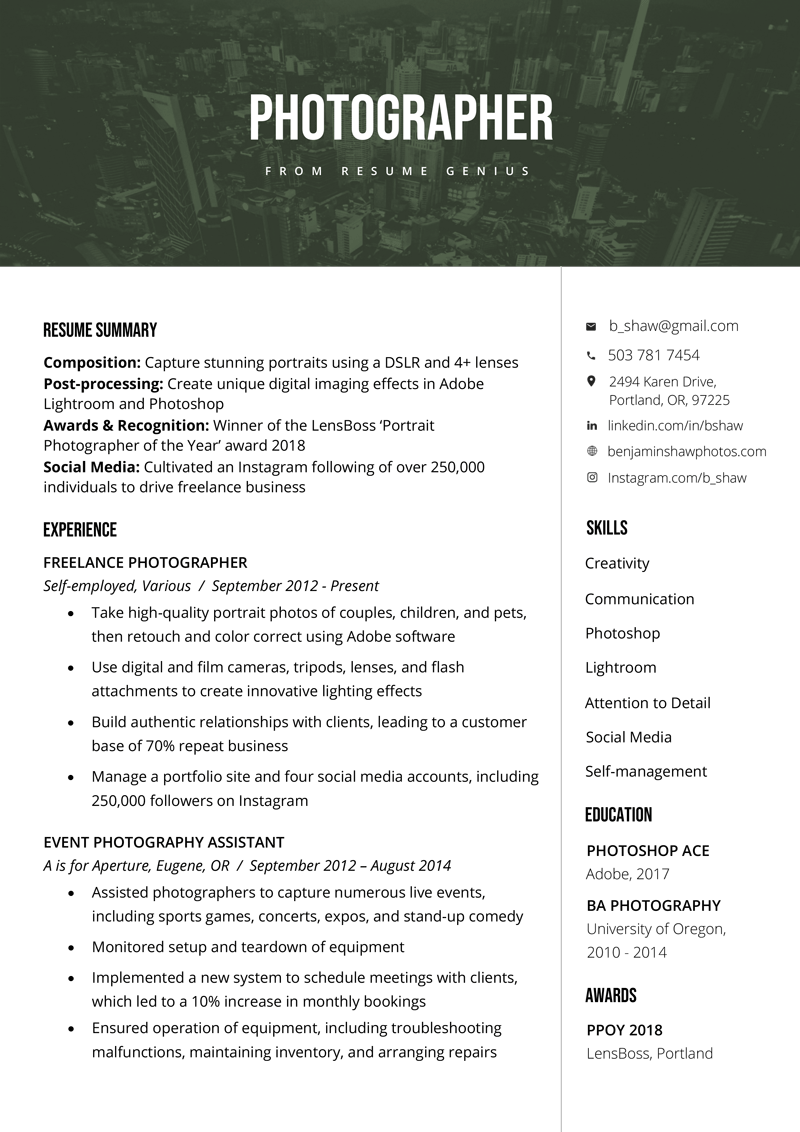 photographer resume sample & writing tips (with images short objective for cv example experience entry level substitute teacher