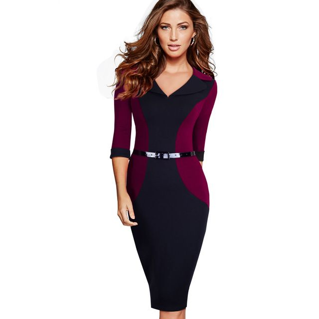 Professional Women Elegant Casual Work Business Office Classic V Neck Belted Colorblock Contrasting Bodycon Pencil Dress EB354