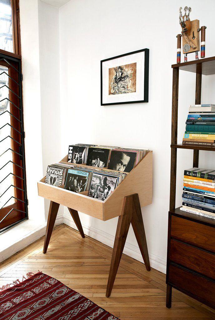 Atocha Design Record Stand In Walnut With Ebonized Walnut Black Legs Furniture Retro Home Decor Retro Home