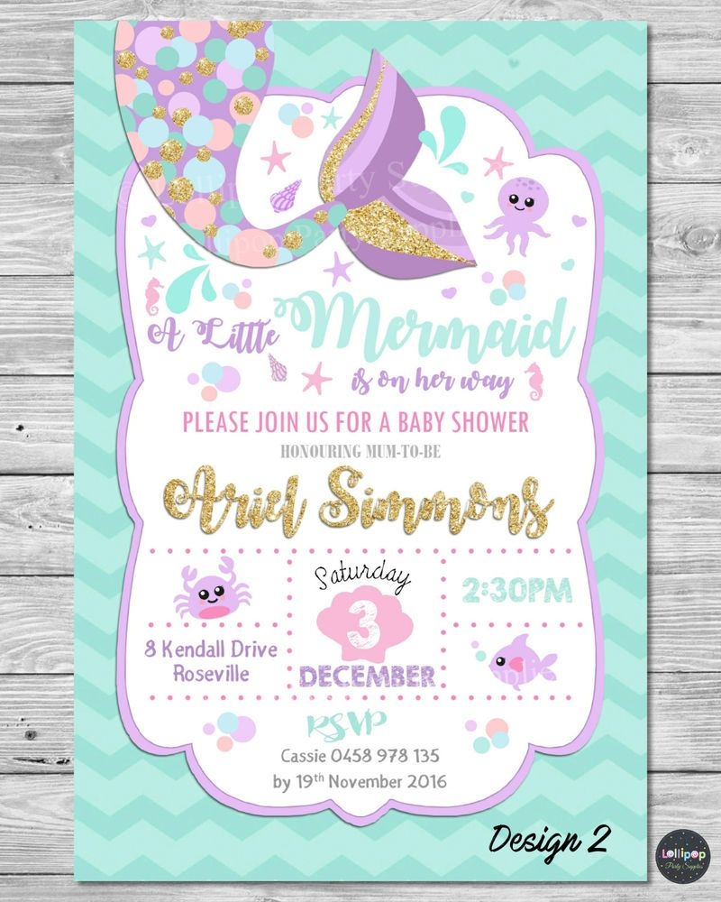 MERMAID BABY SHOWER INVITATIONS PARTY SUPPLIES INVITE GOLD TURQUOISE  CUSTOMISED