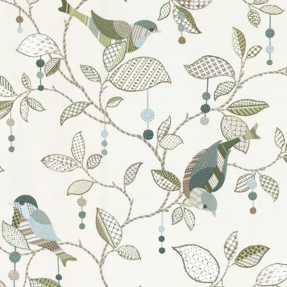 Branches Aqua // Teal Leaves Silhouette Print Drapery Upholstery Fabric Birds