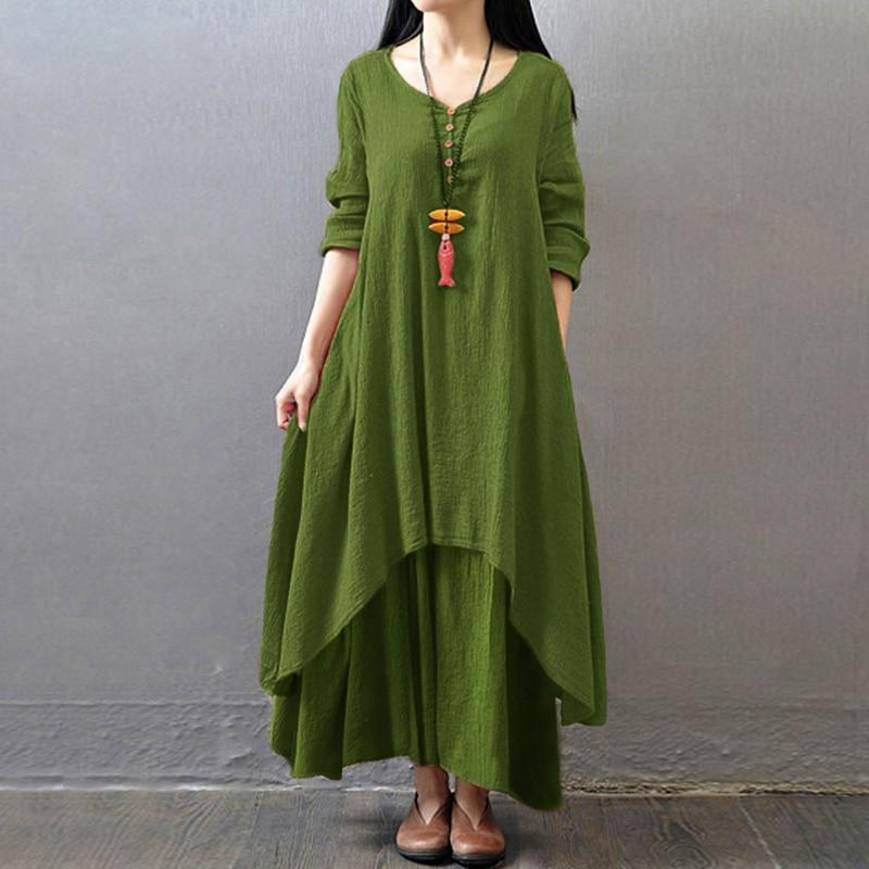 Womens Plus Size Cotton Casual Embroidery Dress Solid Loose Sleeveless Dress