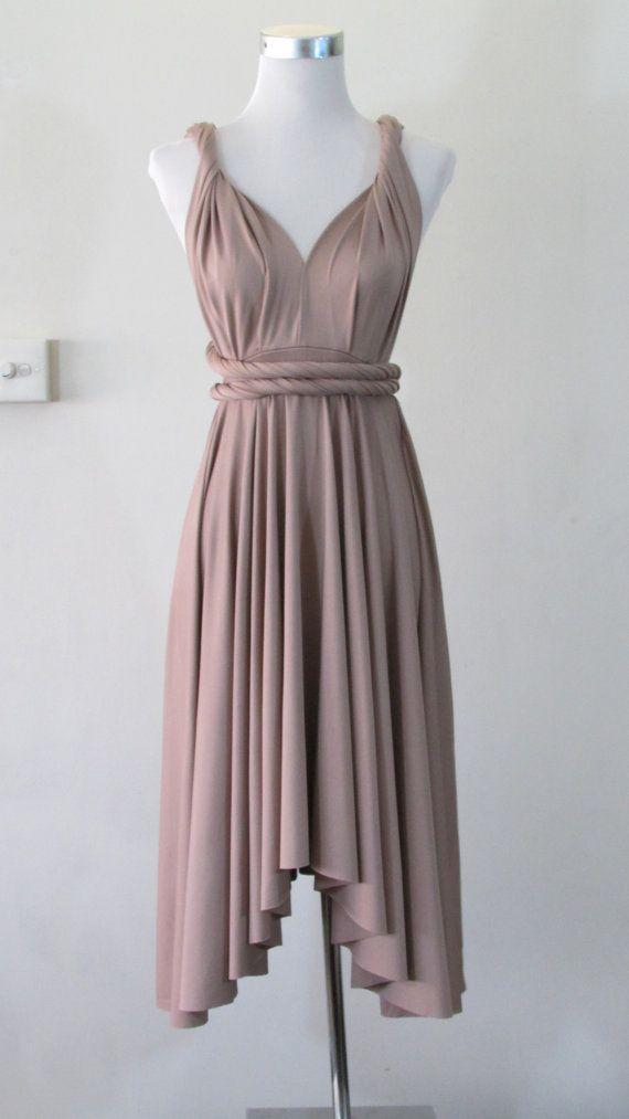 Summer day dress Convertible Dress in Iced Mocha Infinity Dress Multiway  Dress Wrap dress aka French Beige Dusty Rose Pink Tan on Etsy cb42582107ba