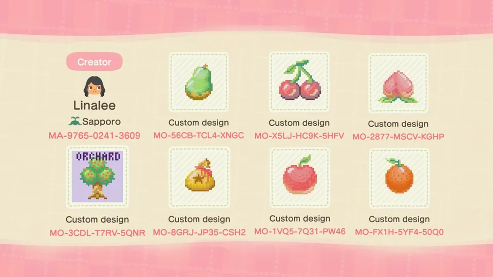 Pattern Fruit Stamps With Transparent Bgs To Mark Your Trees Also Included Orchard Sign And Bell Ba New Animal Crossing Animal Crossing Animal Crossing Game