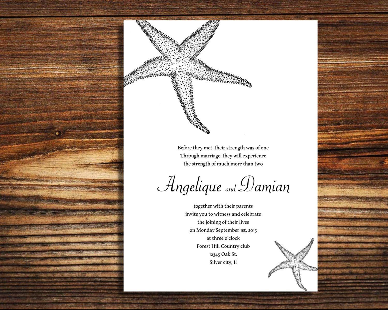 Wedding invitations Star Fish Beach theme by LovableInvitations ...