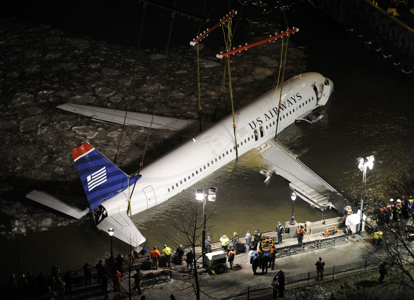 The wreckage of the US Airways plane that landed in the
