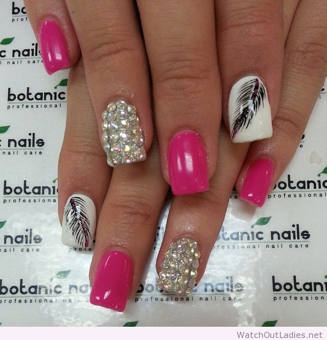 Botanic nails pink, white, diamonds, design - Botanic Nails Pink, White, Diamonds, Design Nails Pinterest