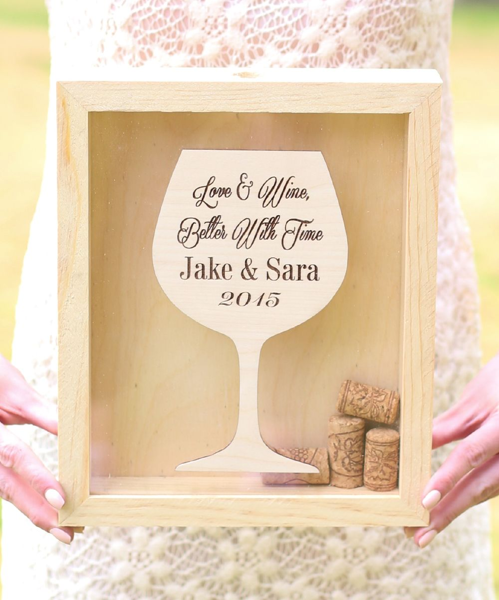 Cork Wedding Memory: Brown Personalized 'Love & Wine' Cork Keepsake Box