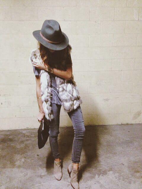 Fur vest - fedora hat - boho