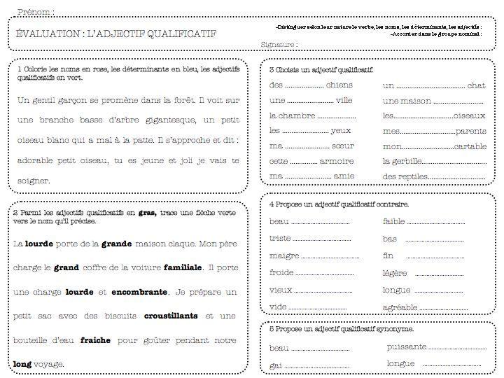 évaluation adjectif qualificatif-ce1   Adjectif ...