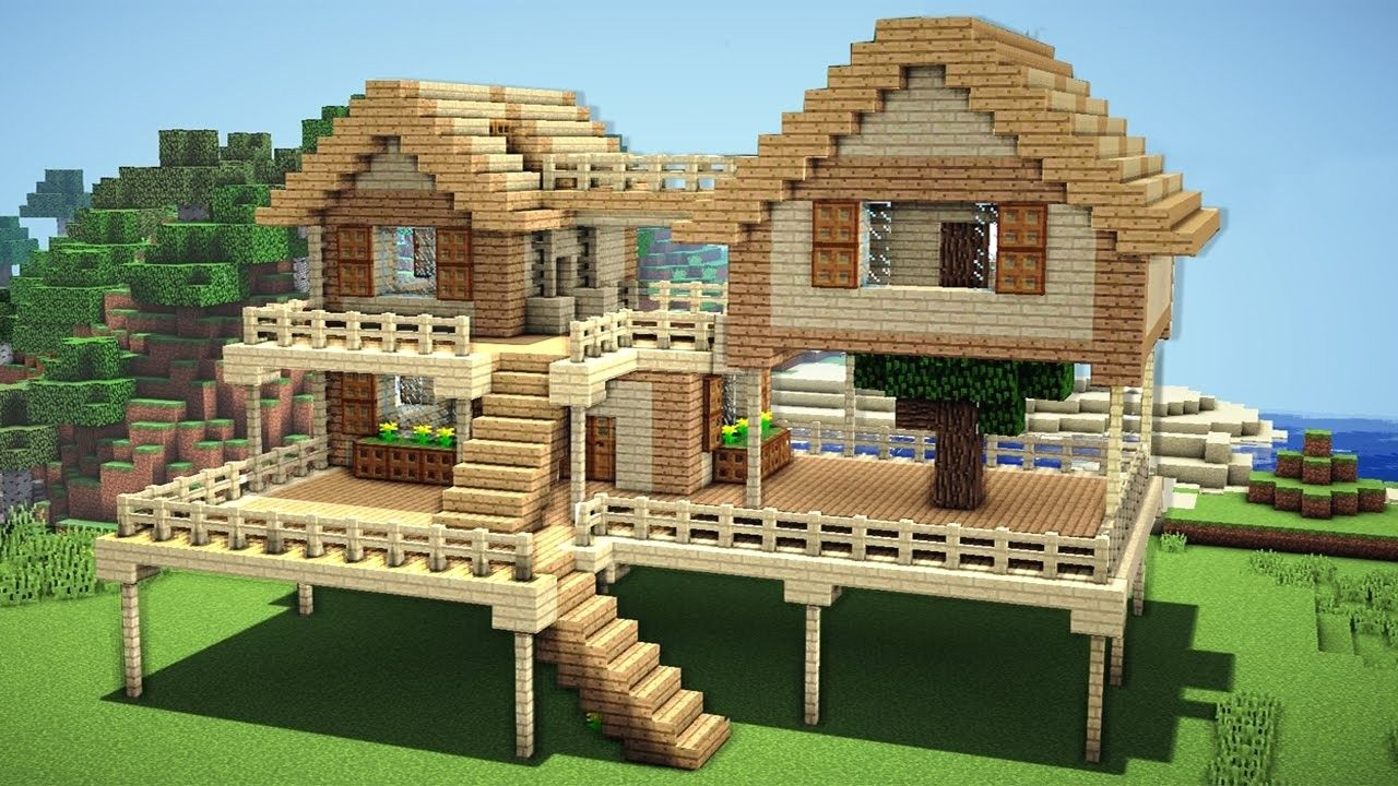 Minecraft Survival House Tutorial How To Build A House In Avec