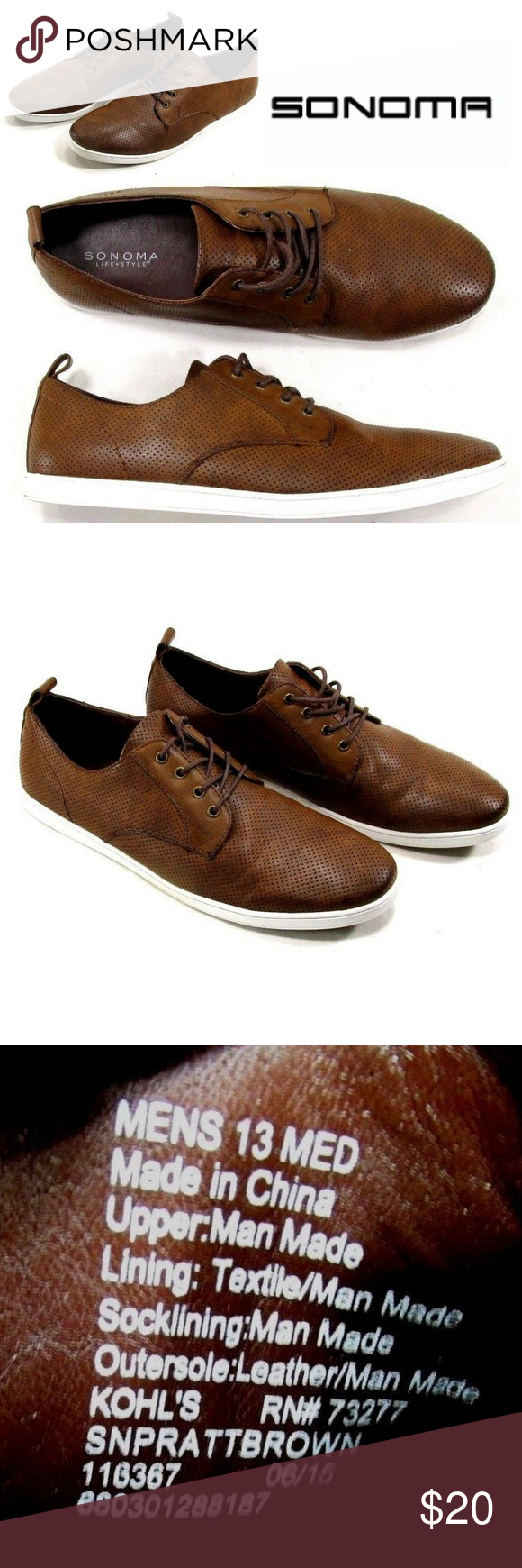 Kohls Brown White Casual Shoes #S2