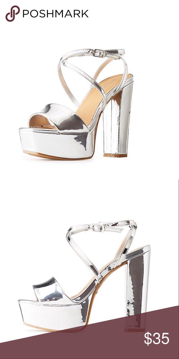 a2e412cc42e I just added this listing on Poshmark  NIB Heels . Silver Color