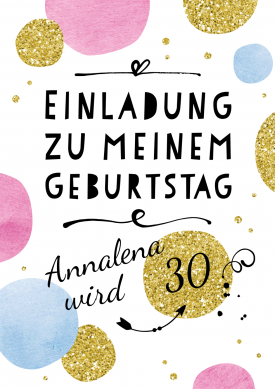 Coole Einladungskarte Zum Geburtstag In Jugendlichem, Goldenen Glitzerlook  Mit Moderner Schrift. #30geburtstag #